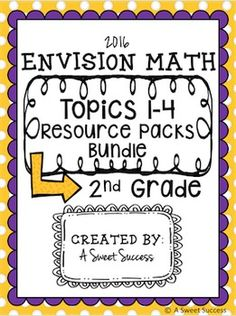 This HUGE bundle includes resource packs for the first FOUR topics aligned to the NEW Envision Math 2.0 series! **138 pages** of resources that will keep 100% of your students engaged and having fun while also mastering new skills! ***This resource is perfect for ANY and EVERY 2nd grade math teacher!