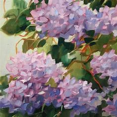 """Daily Paintworks - """"Garden Progress"""" - Original Fine Art for Sale - © Libby Anderson Watercolor Artwork, Watercolor Flowers, Hydrangea Painting, Acrylic Painting Tips, Painting Inspiration, Flower Art, Cool Art, Art Projects, Illustration Art"""