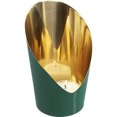 slice green candleholder in candleholders, candles | CB2