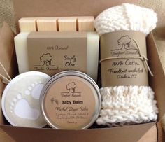 Baby Bath Gift Set - All natural organic baby soap, baby balm, cotton washcloth & wooden soap deck by TreefortNaturals on Etsy https://www.etsy.com/listing/108713898/baby-bath-gift-set-all-natural-organic