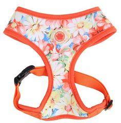 "Puppia ""Spring Garden Floral"" Choke-Free Halter Harness in Color Citrus Orange"