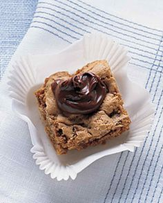 A dollop of chocolate-hazelnut spread lends unexpected decadence to a hazelnut blondie.
