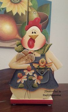 Hand Painted Country Spring Chicken Paper Towel por stephskeepsakes