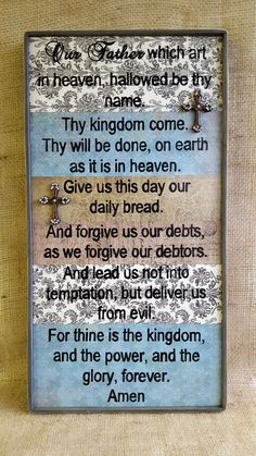 The Lord's Prayer rustic sign, Our Father which art in heaven, Religious sign, Housewarming, Wedding gift by OurLittleCountryShop on Etsy