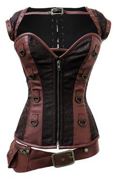 Corset marron steampunk motif vintage avec sangles, boléro et ceinture avec poche