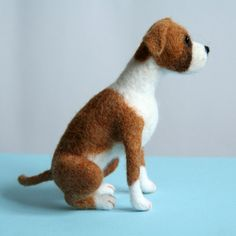 OOAK needle felted fawn BOXER dog by Sophie Z.