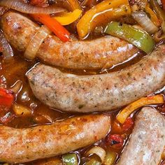 Pressure cooker Italian sausages with onions and peppers. Italian sausages with vegetables cooked in pressure cooker.Yummy!