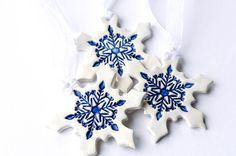 Ceramic Christmas ornaments white Christmas by islaclay on Etsy