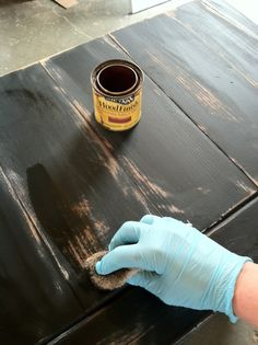 sand, paint, sand distress a piece of furniture, rub stain into the sanded distressed areas, finish with spray can of shellac.