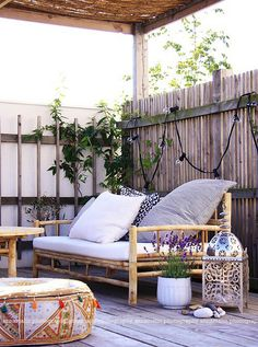 33 Amazing Small Terrace Design Ideas : 33 Amazing Small Terrace Design Ideas With Wooden Bench And Pillow And And Wooden Table And Cushion And Wooden Floor And Beams Terrace Design, Patio Design, Terrace Decor, Design Table, Sofa Design, Outdoor Rooms, Outdoor Living, Outdoor Decor, Outdoor Seating