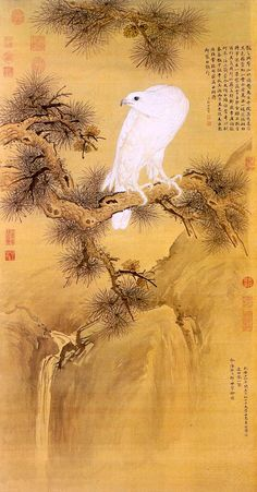 Japanese falconry probably ultimately derives from the Chinese. This 18th century image of such a gos and a gyr by Castiglione, the Jesuit painter at the Chinese court, who combined western and Chinese techniques.