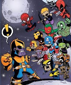 Get the Gauntlet This has been one of my popular pieces of fan art I've done over the years. a bit of chibi style Infinity War action adding in a few extra of my fav comic heroes. Baby Marvel, Chibi Marvel, Baby Avengers, Marvel Dc Comics, Marvel Heroes, Marvel Avengers, Avengers Cartoon, Marvel Cartoons, Rogue Comics
