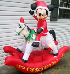 HUGE GEMMY CHRISTMAS INFLATABLE MICKEY ROCKING HORSE Airblown Rare