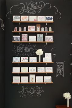 Chalkboard wall at the National Stationery Show 2012: Wednesday Inc (Photo Credit: Oh So Beautiful Paper) #retail #chalkboard #merchandising