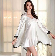 2016 Women Robe Sexy Lace Silk Robe Gown Sets Deep V-neck Night Dress Sleepwear Pyjamas Bathrobe Bridesmaid Robes