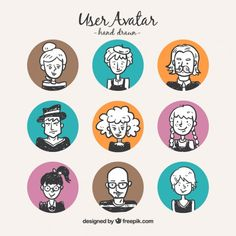 Hand draw user avatars with colored circles Free Vector