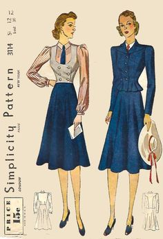 """1930's Vintage Sewing Pattern WWII WW2 Suit Blouse Skirt Waistcoat Jacket B 30"""" #Simplicity"""