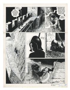 GRZEGORZ ROSINSKI THORGAL LA CHUTE DE BREK ZARITH (T.06, PLANCHE 17), LE LOMBARD Planche originale, prépublication dans Le Journal de Tintin 393, du 22 mars 1983. Traces d'adhésifs. Signé Encre de chine sur papier 36,1 cm x 47,4 cm (14,21 x 18,66 in.)