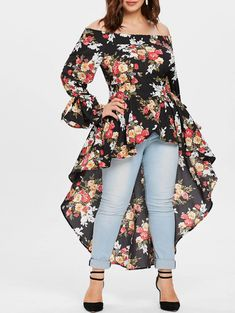 Wipalo Plus Size Off The Shoulder Asymmetrical Floral Maxi Blouse Casual Flare Sleeve Long Blouse Shirt Women Autumn Blusas Plus Size Blouses, Plus Size Tops, Plus Size Dresses, Plus Size Outfits, Plus Size Women, Big Girl Fashion, Curvy Fashion, Plus Size Fashion, Dress Shirts For Women