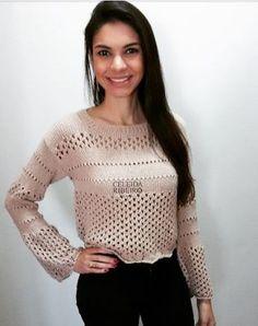 Celeida Ribeiro: Cropped de tricô manga flare!