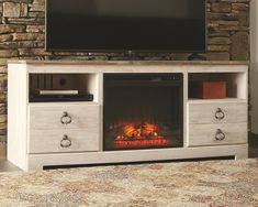 willowton 64 tv stand with electric fireplace whitewash - The world's most private search engine Large Electric Fireplace, Electric Fireplace Reviews, Electric Fireplaces, Gas Fireplaces, White Wash Fireplace, Fireplace Whitewash, Farmhouse Fireplace, Fireplace Hearth, Fireplace Ideas