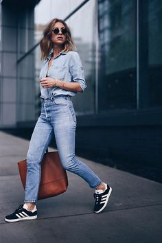 Get this look: http://lb.nu/look/8396029 More looks by Jillian Lansky: http://lb.nu/theaugustdiaries Items in this look: Re/Done Vintage High Waisted Jeans, Adid Black Gazelle Sneakers, Madewell Chambray Shirt #casual #sporty #street