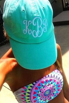 Love the monogrammed hat with the Bikini Beauty And Fashion, Passion For Fashion, Summer Of Love, Summer Time, Spring Break, Summer Things, Summer 2015, Preppy Style, My Style