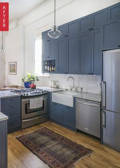 Before After A Park Slope Kitchen Looks Up With Blue Cabinetskitchen