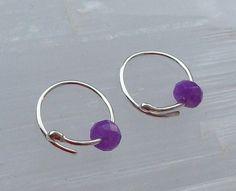 Tiny Sleeper Earrings Purple Quartzite Sterling Silver £8.00