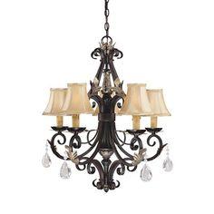 Minka Lavery 775-301 5 Light Bellasera Chandelier, Castlewood Walnut™ Silver Leaf Highlights™