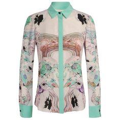 PRABAL GURUNG Printed Silk Shirt ($685) ❤ liked on Polyvore