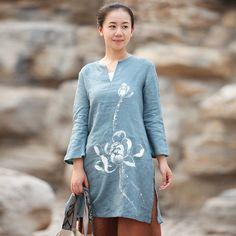 Ink Lotus Painted Long Chinese Shirts Blue by ChineseBespoke, $96.00