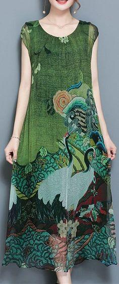 46% OFF ONLY US$33.97 Gracila Women Vintage Printed Short Sleeve Mid-Long Dresses