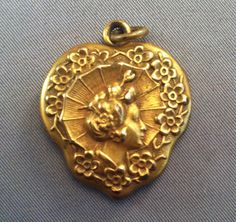 Vintage Art Deco Gold Plated Double Locket Woman's Head