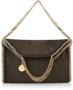 STELLA MCCARTNEY Brown Velvet Python Falabella Triple Handle Bag