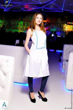 """Купить Платье-сарафан """"Нежность"""" - белый, орнамент, лен, платье летнее, сарафан летний, лён"""
