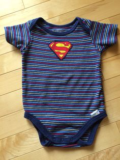 Superman Superbaby Onesie ~ Size 6-9 months ~ One-of-a-Kind ~ Upcycled ~ Blue Red Yello Stripes - Great Gift for that Very Cool Baby !! by ArtThatCooks on Etsy-SOLD