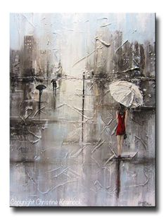 """ORIGINAL #Art Abstract Painting """"The Girl in Red"""" girl red umbrella white red dress grey blue city modern fine art. Available as giclee print / canvas print -Stunning, modern, palette knife painting, full of texture with soothing shades of grey, taupe, blue, & white, with the contrast of her red dress and a romantic urban feel. Gift Wall Art Wall Decor 18x24"""" Canvas Winter Rain NYC Paris London New York CIty Fashion Artwork ~by Internationally Collected, Contemporary Artist, Christine…"""