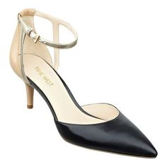 Something a little classic like this shoe would make work a little better. Two piece pump with adjustable ankle strap.
