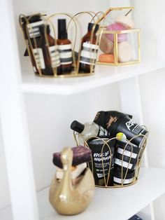 Use beauty baskets to organize your products.