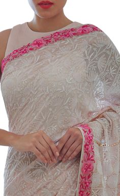 Masterpiece Nude Pink Heirloom Chikankari And Parsi Gara Saree