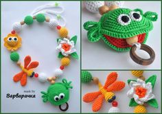 with Amigurumi funny Frog Nursing necklace by ForYourHappyBaby Crochet Baby Toys, Crochet For Kids, Crochet Animals, Baby Knitting, Handmade Baby, Handmade Toys, Amigurumi Patterns, Crochet Patterns, Breastfeeding Necklace