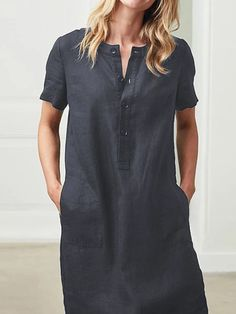 Casual Solid Pockets Tunic Shift Dress Fashion girls, party dresses long dress for short Women, casual summer outfit ideas, party dresses Fashion Trends, Latest Fashion # Linen Dresses, Casual Dresses, Short Sleeve Dresses, Dresses With Sleeves, Maxi Dresses, Short Sleeves, Linen Summer Dresses, Casual Outfits, Daytime Dresses