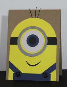 """You're one in a Minion. A Despicable Card. Father's Day - """"Dad, you're one in a minion! Boy Cards, Kids Cards, Cute Cards, Minion Card, Birthday Cards For Boys, Minion Birthday Card, Punch Art Cards, Creative Cards, Scrapbook Cards"""