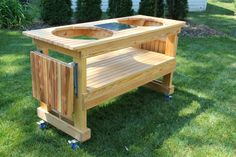 green egg built in grills | Custom Big Green Egg Double Table from Cypress