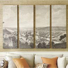 Set of 4 Towne View Panels - Ballard Designs Staples Engineer Prints, Family Room Walls, Cactus Wall Art, Photoshop, Ballard Designs, Living Room Art, The Ranch, Graphic, Home Furnishings