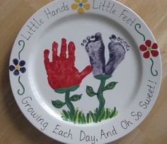 Handprint & Footprint Platter I made at a Paint Your Own Pottery store. (Writing around the edge and on the leaves is porcelain pen- written on the fired plate, then baked on.) Handprint & Footprint Platter I made at a Dad Crafts, Fathers Day Crafts, Easy Crafts For Kids, Toddler Crafts, Art For Kids, Porcelain Pens, Pottery Store, Footprint Crafts, Paint Your Own Pottery