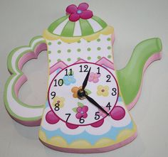 Tea Pot Party Wooden WALL CLOCK for Girls Bedroom by ToadAndLily, $45.00