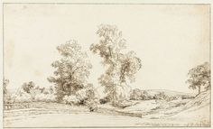 Gerbrand van den Eeckhout, 1662 - Dune landscape with trees - art print, fine art reproduction, wall art Rembrandt Drawings, The Great, The Artist, Fine Art Prints, Canvas Prints, Tree Artwork, Landscape Drawings, Canvas Paper, Artist Names