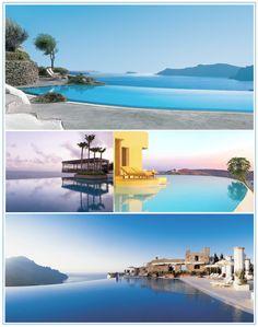 1. Santorini, Greece. Perivolas  2. Mexico.  Costa Careyes  3. Italy. Hotel Curuso  4. Bali.  Aliahotels / Uluwatu #travel #pools
